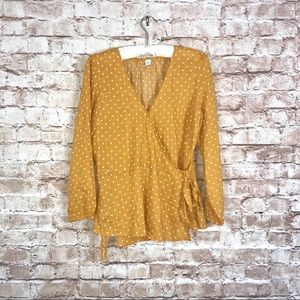 Old Navy Tops - Old Navy Yellow Polka Wrap Tie Blouse Sz S
